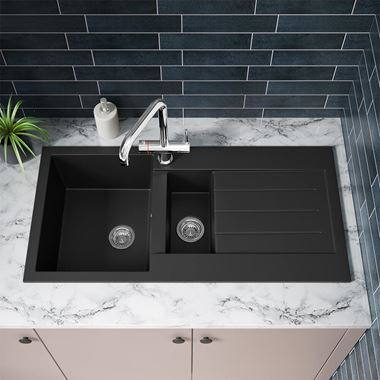 Vellamo Designer 1.5 Bowl Matt Black Comite Composite Kitchen Sink & Chrome Waste with Reversible Drainer - 1000 x 500mm
