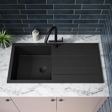Vellamo Designer 1 Bowl Matt Black Comite Composite Kitchen Sink & Waste with Reversible Drainer - 1000 x 500mm