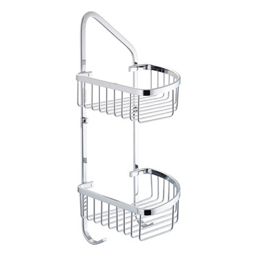Vellamo Double Shower Corner Basket with Hooks