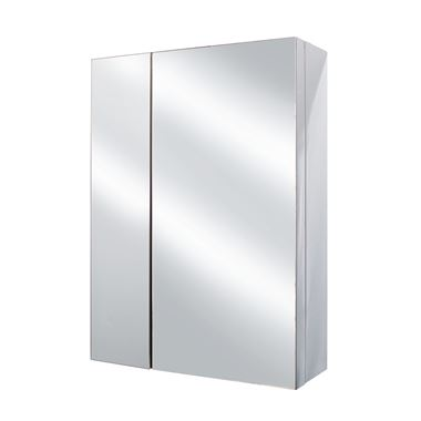 Vellamo Stainless Steel Double Door Mirrored Cabinet