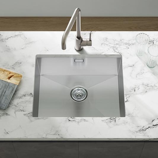 Vellamo Edge 1 Bowl Undermount Stainless Steel Kitchen Sink Waste Kit 530 X 430mm Tap Warehouse