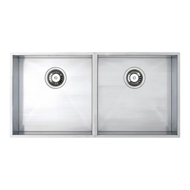 Vellamo Edge 2 Bowl Undermount Stainless Steel Kitchen Sink & Waste Kit - 860 x 430mm