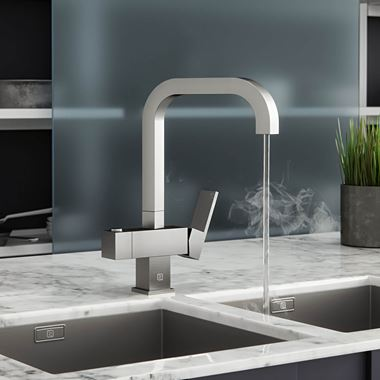 Vellamo Fire 4-in-1 Instant Filtered Hot and Cold Brushed Steel Boiling Water Tap with Filter & WRAS Approved Boiler Tank