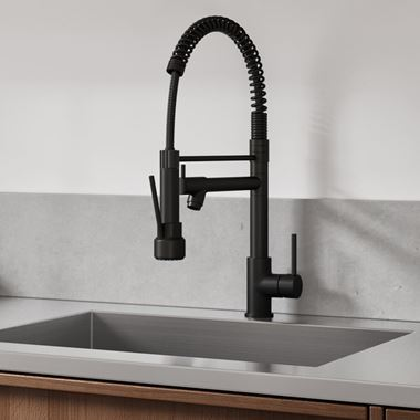 Vellamo Hanbury Professional Kitchen Pullout Spray Tap - Matt Black