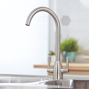 Vellamo Hero Mono Kitchen Mixer Tap - Brushed Stainless Steel