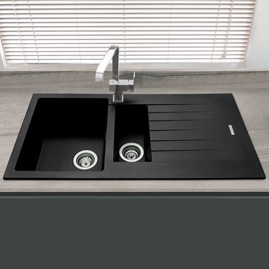 Vellamo Horizon 1.5 Bowl Granite Composite Sink & Waste Kit with Reversible Drainer - 1000 x 500mm