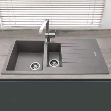 Vellamo Horizon 1.5 Bowl Graphite Grey Granite Composite Sink & Waste Kit with Reversible Drainer - 1000 x 500mm
