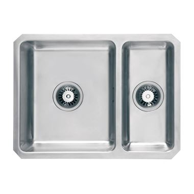 Vellamo Horizon 1.5 Bowl Undermount Stainless Steel Kitchen Sink & Waste Kit with Reversible Half Bowl - 600 x 450mm