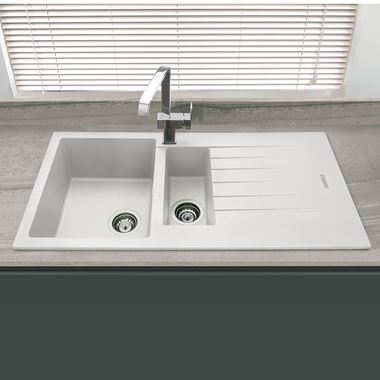 Vellamo Horizon 1.5 Bowl White Granite Composite Sink & Waste Kit with Reversible Drainer - 1000 x 500mm
