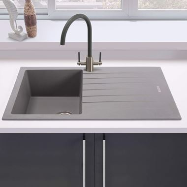 Vellamo Horizon Compact 1 Bowl Granite Composite Sink & Waste Kit with Reversible Drainer - 860 x 500mm