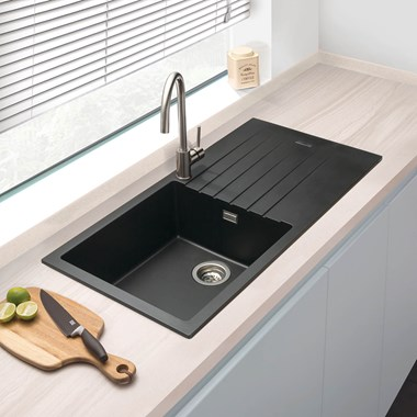 Vellamo Horizon Large 1 Bowl Black Granite Composite Sink & Waste Kit with Reversible Drainer - 1000 x 500mm