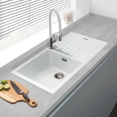 Vellamo Horizon Large 1 Bowl White Granite Composite Sink & Waste Kit with Reversible Drainer - 1000 x 500mm