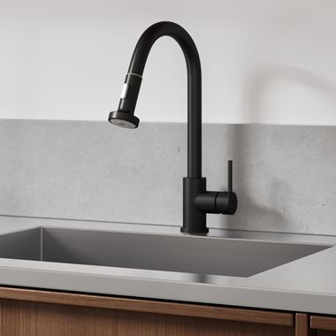 Vellamo Inspire Pull Out Mono Kitchen Mixer Tap - Matt Black