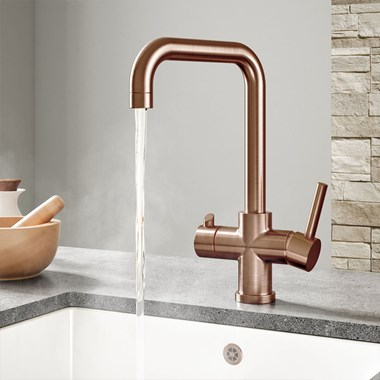 Vellamo Kaffe 3-in-1 Instant Hot Water Tap with Boiler Unit & Filter - Brushed Copper