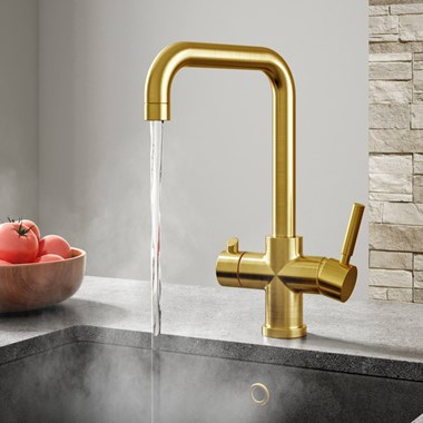 Vellamo Kaffe 3-in-1 Instant Hot Water Tap with Boiler Unit & Filter - Brushed Gold