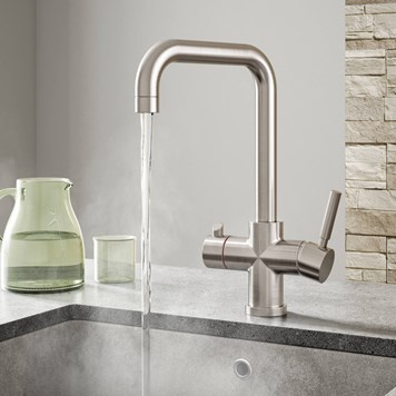 Vellamo Kaffe 3-in-1 Instant Hot Water Tap with Boiler Unit & Filter - Brushed Nickel