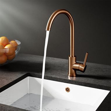 Vellamo Kara Single Lever Mono Kitchen Mixer - Brushed Copper