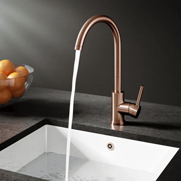 Vellamo Kara Brushed Copper Mono Kitchen Mixer and Complete Filter Kit