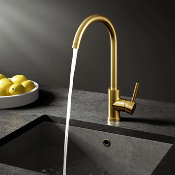 Vellamo Kara Single Lever Mono Kitchen Mixer - Brushed Gold