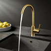 Vellamo Kara Single Lever Mono Kitchen Mixer Tap  with Complete Filter Kit - Brushed Gold
