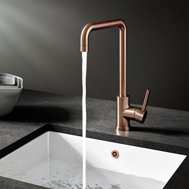 Vellamo Koro Single Lever Mono Kitchen Mixer - Brushed Copper