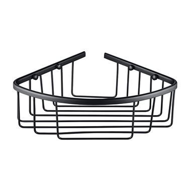 Vellamo Matt Black Corner Shower Basket