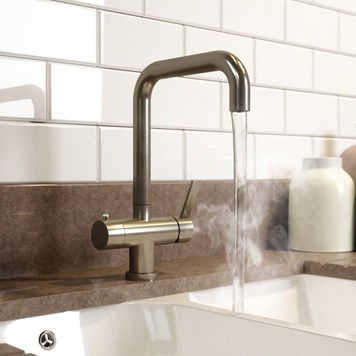 Vellamo Mokka Instant Hot and Cold Boiling Tap with WRAS-Approved Boiler & Filter - Brushed Steel