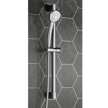 Vellamo Premium Round Slide Rail Shower Kit with Smooth Hose & Tidy Clip