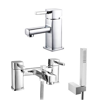 Vellamo Quadro Basin Mixer & Bath Shower Mixer Value Pack