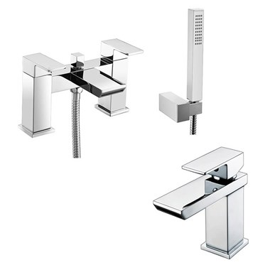 Vellamo Relate Waterfall Basin Mixer & Bath Shower Mixer Pack