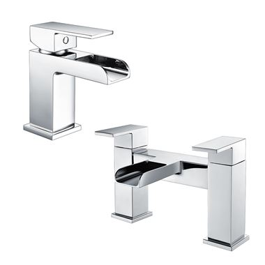 Vellamo Reve Waterfall Basin Mixer & Waterfall Bath Filler Value Pack