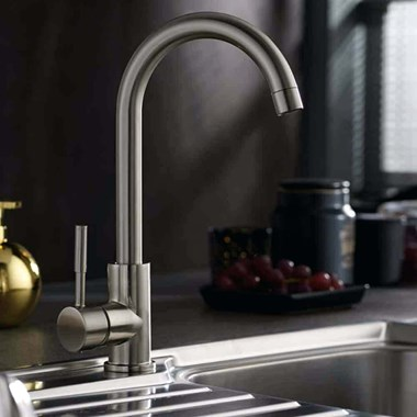 Vellamo Revolve Brushed Stainless Steel Mono Kitchen Sink Mixer Tap