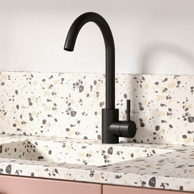 Vellamo Revolve Single Lever Mono Kitchen Mixer Tap - Matt Black