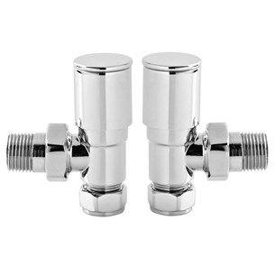 Vellamo Chrome Angled Round Radiator Valves (Pair)