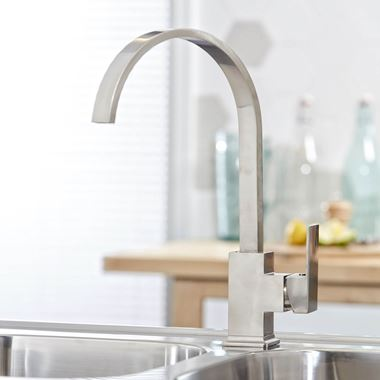 Vellamo Saronic Single Lever Mono Kitchen Mixer - Brushed Stainless Steel