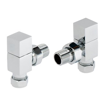 Vellamo Chrome Angled Square Radiator Valves (Pair)