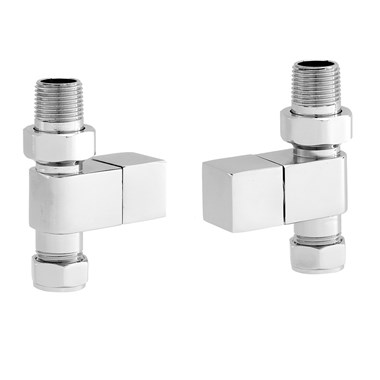 Vellamo Chrome Straight Square Radiator Valves (Pair)