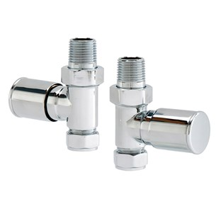 Vellamo Chrome Straight Round Radiator Valves (Pair)