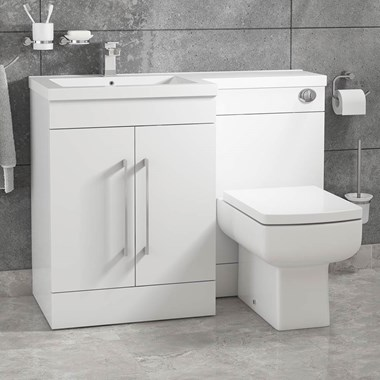 Vellamo Structure Furniture Suite inc. Back-to-Wall Toilet & Concealed Cistern - White