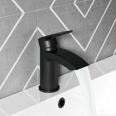 Vellamo Swift Matt Black Basin Mixer Tap & Clicker Waste