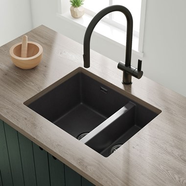 Vellamo Terra 1.5 Bowl Black Granite Composite Inset/Undermount Kitchen Sink & Waste Kit - 555 x 460mm