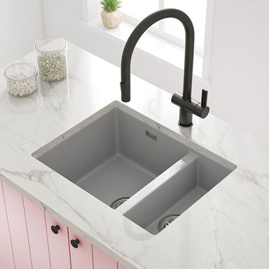 Vellamo Terra 1.5 Bowl Graphite Grey Granite Composite Inset/Undermount Kitchen Sink & Waste Kit - 555 x 460mm