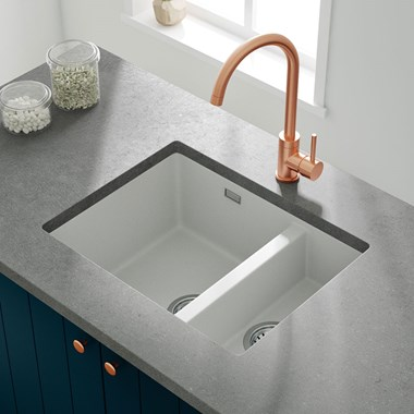 Vellamo Terra 1.5 Bowl Granite Composite Inset/Undermount Kitchen Sink & Waste Kit - 555 x 460mm