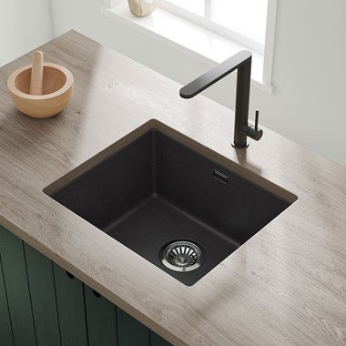 Vellamo Terra 1 Bowl Black Granite Composite Inset/Undermount Kitchen Sink & Waste Kit - 533 x 457mm