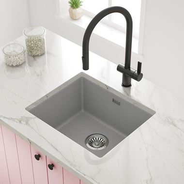 Vellamo Terra 1 Bowl Granite Composite Inset/Undermount Kitchen Sink & Waste Kit - 533 x 457mm