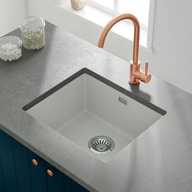 Vellamo Terra 1 Bowl White Granite Composite Inset/Undermount Kitchen Sink & Waste Kit - 533 x 457mm