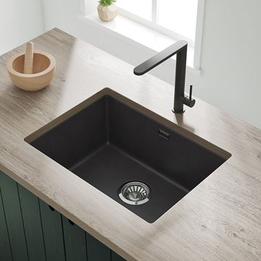 Vellamo Terra Large 1 Bowl Granite Composite Inset/Undermount Kitchen Sink & Waste Kit - 610 x 460mm