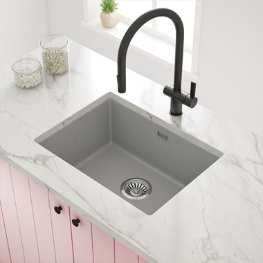 Vellamo Terra Large 1 Bowl Graphite Grey Granite Composite Inset/Undermount Kitchen Sink & Waste Kit - 610 x 460mm