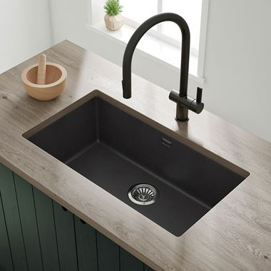 Vellamo Terra Extra Large 1 Bowl Granite Composite Undermount Kitchen Sink & Waste Kit - 774 x 434mm