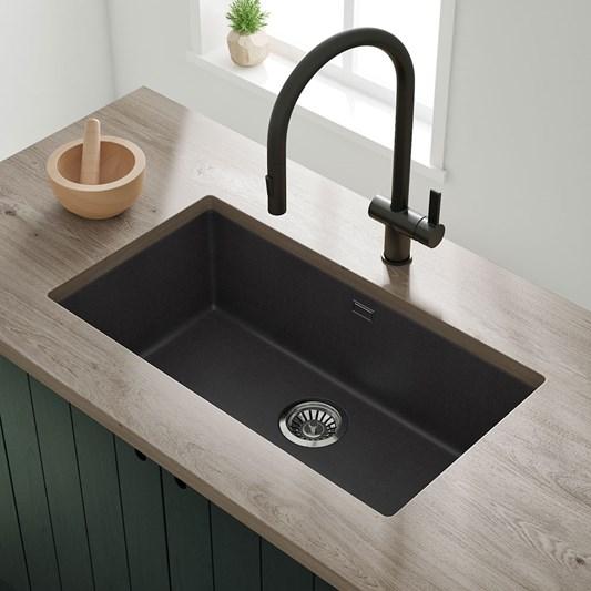 Vellamo Terra Extra Large 1 Bowl Granite Composite Undermount Kitchen Sink Waste Kit 774 X 434mm
